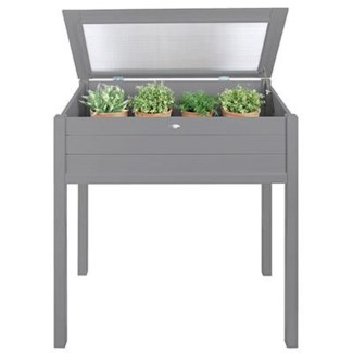 Tall cold frame grey. Pinewood, glass. 90,0x50,5x101,0cm. oq/2,mc/1 Pg.125