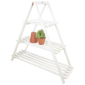 Plant ladder triangle white. Pinewood. 110,5x38,0x107,0cm. oq/1,mc/1 Pg.127