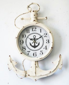 Anchor Wall Clock Rustic White Metal/MDF/Glass 13.8x2.37x21inch ETA Aug 2018