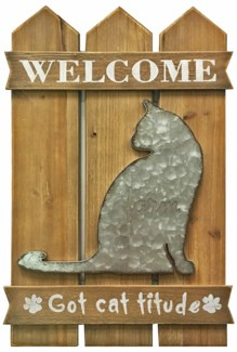 Welcome Cat Wall Decor, 15.8x1x23.7