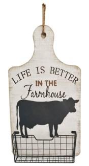 Farmhouse Cow Hanging Storage Basket