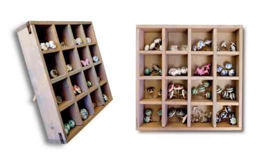 16 Square Hardware Display Box.  Can Stand Up or Lay Flat, Grey Wash, Decorative Corner Brackets (Un