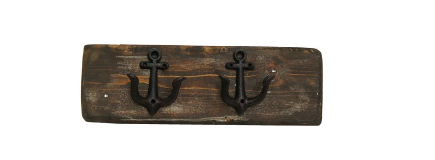 Anchor Hook Board Dark Walnut S, 2 Black Anchor (dble) hooks. 2x5.5x18inch