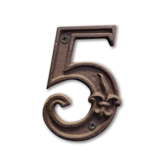 House Number 5. Cast iron. 0.4x2.8x4.5inch.