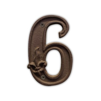 House Number 6. Cast iron. 0.4x2.8x4.5inch.