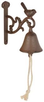 Doorbell bird S. Cast iron, cotton cord. 7,5x14,4x15,5cm. oq/12,mc/12 Pg.43
