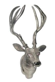 Reindeer Wall Head Aluminium Nickel Plated 19.5x13x11inch.