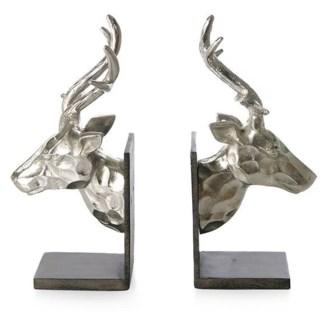 Reindeer Bookends Aluminium Nickel Chocolate Brown Finish 5x4x9inch