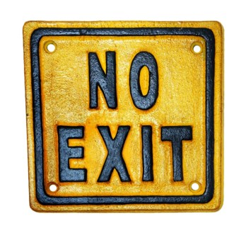 No Exit Sign Cast Iron YellowBlack 5.4x5.4inch On sale 40% off original price of $6.00