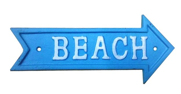 Beach Arrow Sign White on Blue Cast Iron 9.13x4inch.