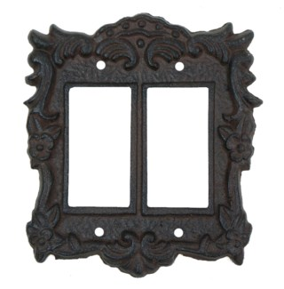 Tori Cast Iron Light Switch Cover, Double, Brown 5.6x6.2inch