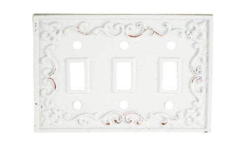 Kel Cast Iron Light Switch Cover, Triple, Antique White 7.2x4.9inch