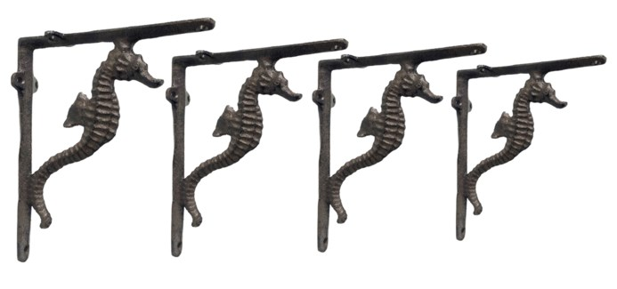 LF-3001 - Seahorse Bracket, Brown, Cast Iron, 8.6x1.6x7.5 inches