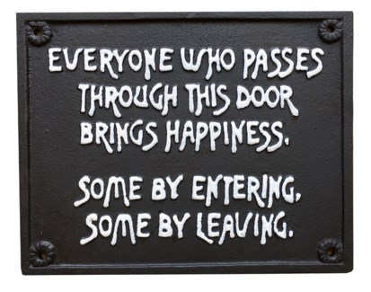 Bring Happiness Sign, Cast Iron. 10.08x8.15inch.Last Chance!