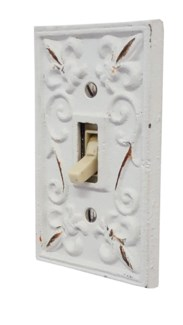 Kel Cast Iron Tuggle Light Switch Cover, Single, Antique White 2.8x4.8inch