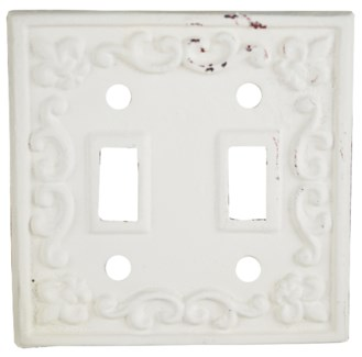Kel Cast Iron Light Switch Cover, Double, Antique White 4.7x4.7inch