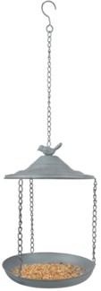 Grey Metal bird feeder hanging -  (8.9x8.9x11.8 inches)