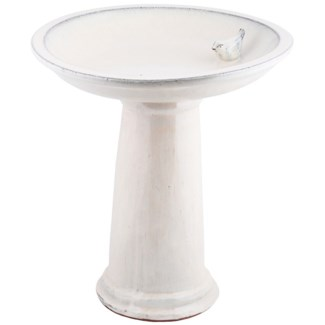 Birdbath on foot ceramic cream, Ceramics - 16.54x16.54x47