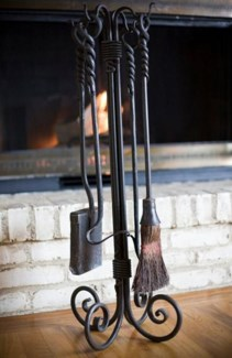 Hand Forged Fire Tools Set. Comes with rack, broom, shovel, fire iron and hook - Dimensions TBC