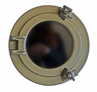 Porthole Mirror, 8inches, Antique Brass