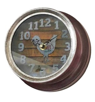 Farmhouse Hen Clock, Red, Metal 7x7x3.5 inches