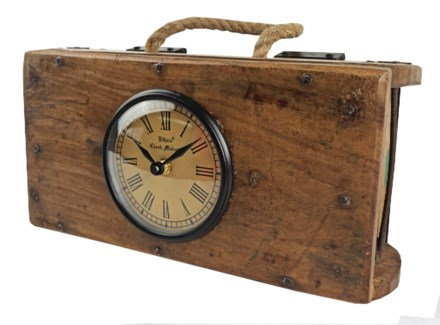 Recycled Brick Mould Clock with Rope 12x3.5x6 inches