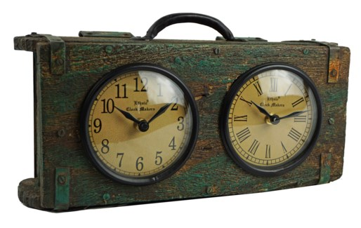 Recycled Brick Mould Dual Dial Clock 13x4x7 inches On sale 25% off