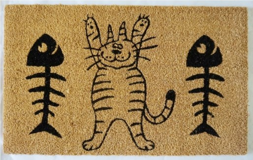 Cat & Fish Mat, Natural, 17.7x29.5 inches, 1.5 cm thick