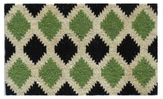 Diamond Pattern Mat, Green & Black, 1.5x2.5 ft, 17.7x29.5 inches, 1.5 cm thick