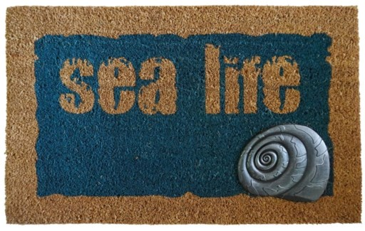 SEA LIFE Mat, Blue/Nat, 17.7x29.5 inches, 1.5 cm thick,  Rubber Flocked Silver Finish