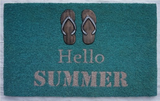 HELLO SUMMER Flip Flop Mat, 17.7x29.5 inches, 1.5 cm thick, Rubber Flocked Copper/Silver Finish