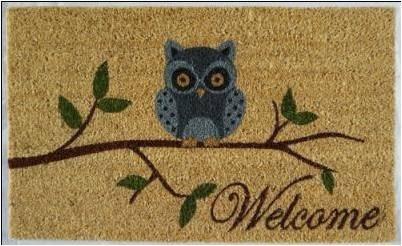 WELCOME Owl Mat, 18x30x1�, 100% coir no backing