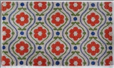WELCOME Mat,  Red Floral , 1.5x2.5 ft, 17.7x29.5 inches, 1.5 cm thick