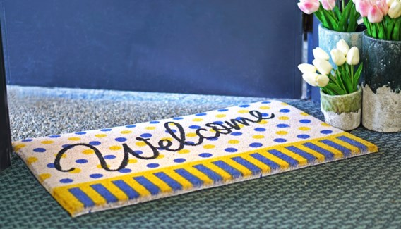 WELCOME Mat, Polka Dot, 17.7x29.5 inches, 1.5 cm thick