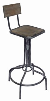 Felix Industrial Stool with Back, 16.3x16.3x35.4