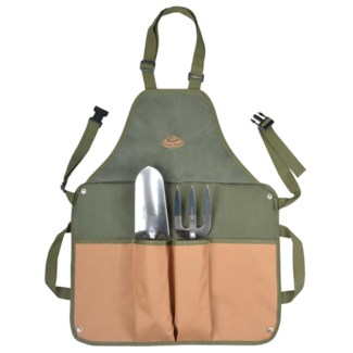 Gardentool apron with tools. Canvas, stainless steel, ashwood, PP. 45,5x5,8x74,0cm. oq/6,mc/6 Pg.73