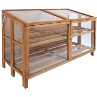 Hardwood greenhouse wide. Hardwood, stainless steel, glass. 118,5x60,0x80,0cm. On Sale 20 percent of