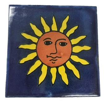 Mexican Hand Painted Coaster/Tiles, Sunshine, Glazed Terra Cotta 4x4 inches