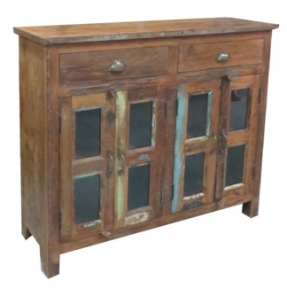 Recyled Wood 4Dr 2Dwr Cabinet Glass (subdued colours) 47.24x15.74x42.12inch