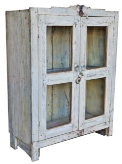 Vintage Almirah Cabinet White, 25.6x11x33.9 Inches