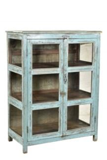 tc-NB-1152 Vintage Almirah Cabinet w/ Top Bracket Lt. Blue, 29.9x18.5x44.1 Inches