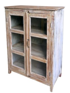 tc-NB-1152 Vintage 6 Pane Cabinet, Distressed, 31.5x15.7x43.3 Inches