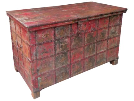 IT-DG-055 Vintage Chest, Red, 50x26x30.7 Inches