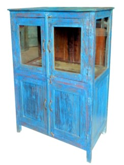 TC-NB-1144 Vintage Almirah Cabinet, Blue, 35.4x19.7x52.8 Inches