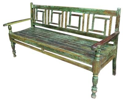 Vintage Black Bench, Dark Green Finish, 66.1x19.7x37 Inches