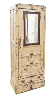 Vintage Cabinet With Mirror, Distressed Cream, 27x16x71 Inches