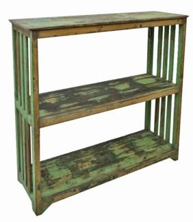 Wood Storage Rack, Green, 46x14x44 Inches