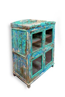Display Cabinet, Glass Doors, Rustic Turquoise Finish35.4x20.9x52 inches  *20 Percent Off Original