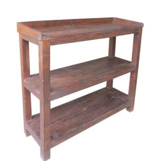 Wooden Rack, 2 Shelves, Dark Brown, 35.8x13.8x29.9 inches