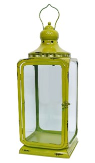 Green Largo Lantern Metal L Glass 7.9x7.9x10.7inch